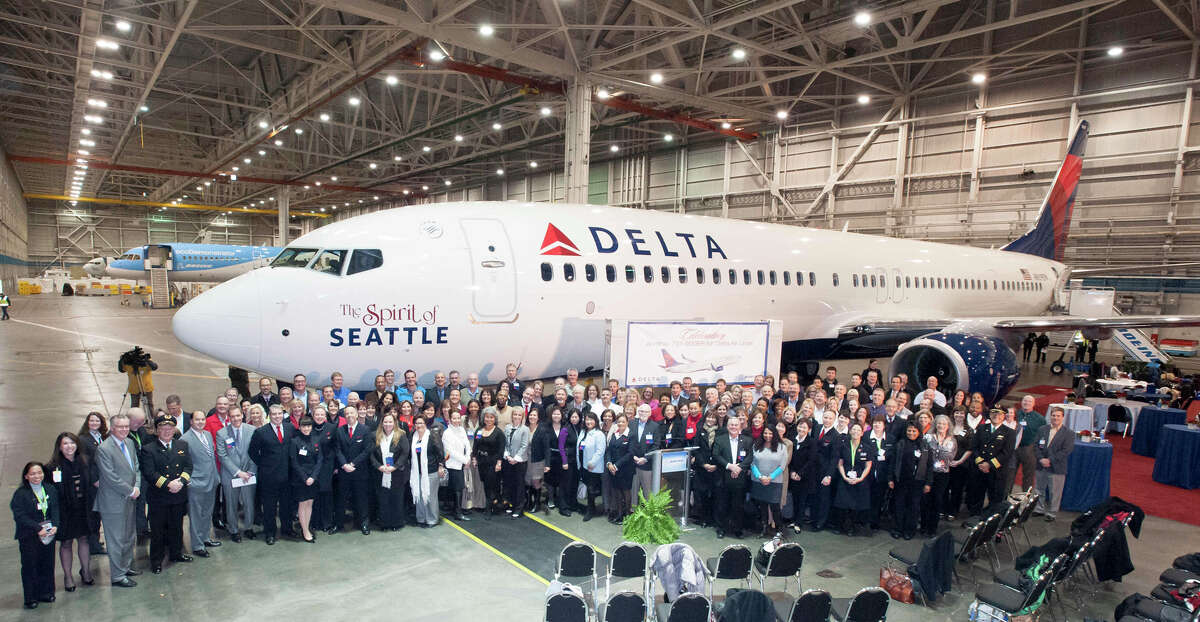 "Delta Air Lines unveils its new ""Spirit of Seattle"" Boeing 737-900ER."
