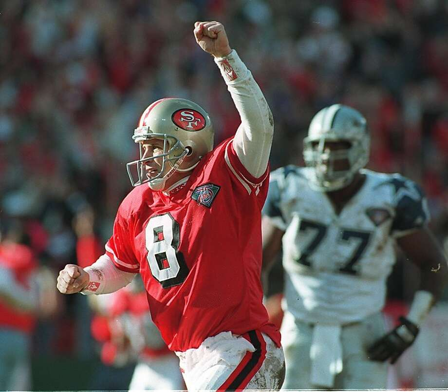 Steve Young, top, beat Dallas in the 1994 regular season and again in the NFC title game. Photo: Brant Ward, The Chronicle