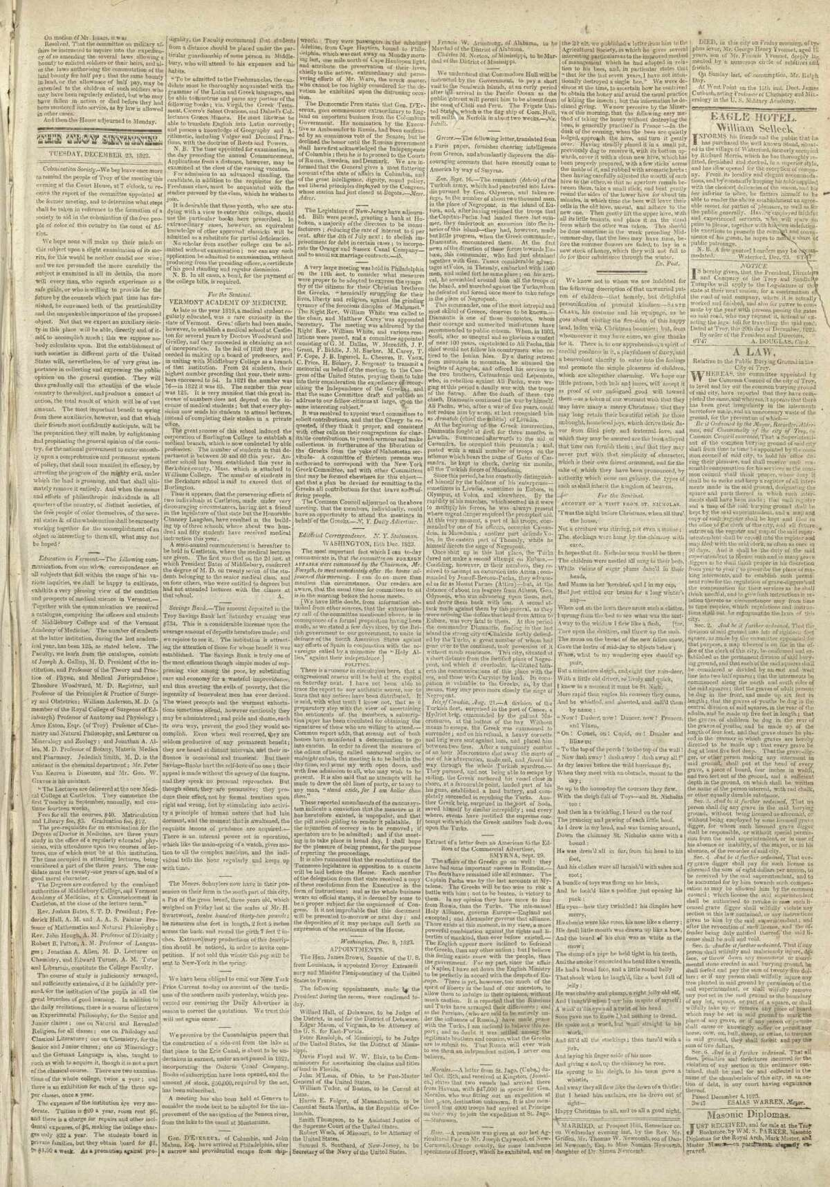 """The poem """"Account of a Visit from St. Nicholas,"""" popularly known as """"'Twas the night before Christmas,"""" located below right, was first published on the front page of the Troy Sentinel on Dec. 23, 1823. (Courtesy Gramercy Communications)"""