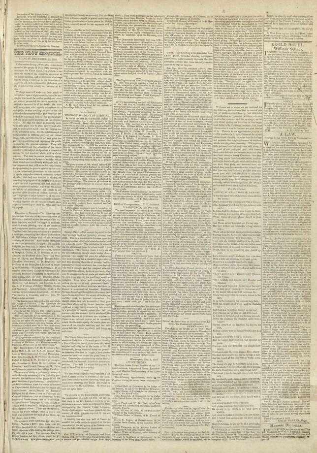 "The poem ""Account of a Visit from St. Nicholas,"" popularly known as ""'Twas the night before Christmas,"" located below right, was first published on the front page of the Troy Sentinel on Dec. 23, 1823. (Courtesy Gramercy Communications)"
