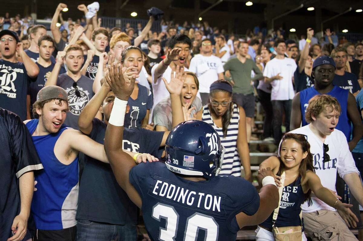 After Rice's Jeremy Eddington celebrated with fans following a victory this year at Rice Stadium, it likely was back to the books for the players and student body.