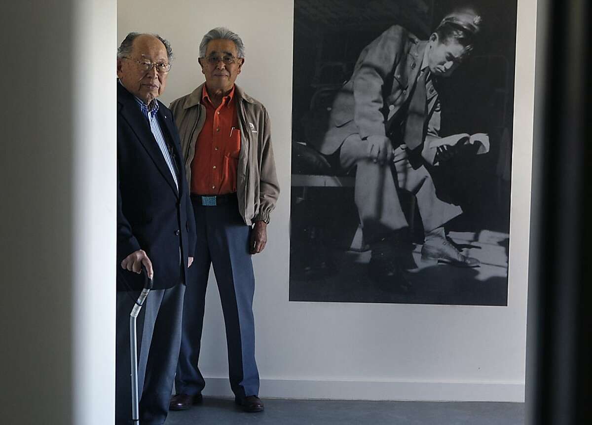 WWII US army veterans Koji Ozawa (left) and Asa Hanamoto (right), military linguists for the Military Intelligence Service (MIS),were trained in what is now a new museum, Building 640 Communique, in San Francisco, Calif., as they look around the museum on Friday, November 22, 2013. Building 640 Communique housed the first class of the Military Intelligence Service (MIS) Language School, the forerunner of the Defense Language Institute at the Presidio of Monterey.