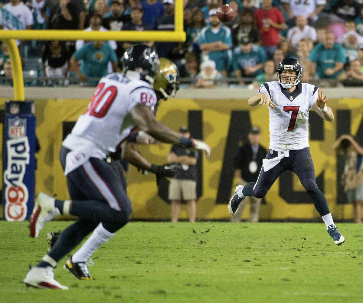 Texans quarterback Case Keenum watches his second-quarter throw on its way to an interception by Jaguars cornerback Alan Ball.