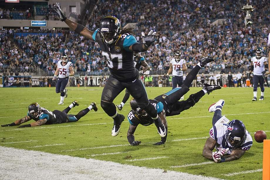 Jaguars 27, Texans 20 Texans wide receiver Andre Johnson (80) can't make the catch on a 4th down attempt near the Jaguars goal line. Photo: Smiley N. Pool, Houston Chronicle