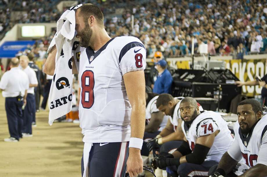 Texans quarterback Matt Schaub reacts on the sidelines after throwing an interception. Photo: Smiley N. Pool, Houston Chronicle