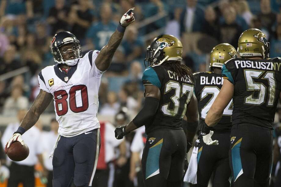 Texans wide receiver Andre Johnson (80) celebrates after picking up a first down. Photo: Smiley N. Pool, Houston Chronicle