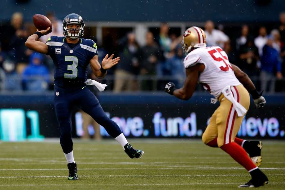 """RUSSELL WILSONSeahawks quarterbackQ: Why do you say this is the biggest game the Seahawks have played all year?RW: """"It's the next opportunity. Obviously this is a big game for us, an NFC West game. Our goal is to win the NFC West. That's our No. 1 goal at the beginning of the year -- is seeing if we can do that first. It's a great opportunity for us. (San Francisco) is a very, very good football team. They're doing a great job right now. They're playing some great football, they're very physical, they can run around, make all the plays -- tons of talent on the offensive side of the ball and the defensive side of the ball. It's going to be a great matchup and a tough environment."""" Photo: Otto Greule Jr, Getty Images"""