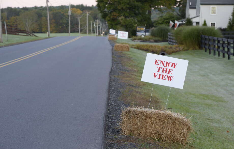 Signs protesting a proposed solar farm line the road in front of 120 Denton Road on Sept 24, 2013, in Greenfield, N.Y.  The signs were erected to demonstrate the unhappiness of the local residents to a proposed solar farm to be installed by Skidmore College in a field close to these residents. (Skip Dickstein / Times Union archive) Photo: Skip Dickstein / 00023956A
