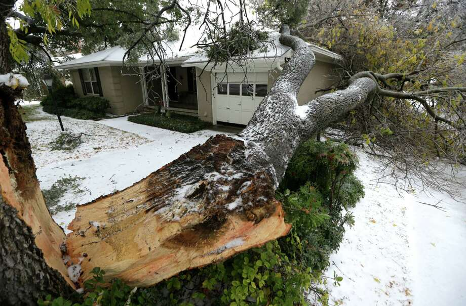 A tree felled by ice rests near a house Friday, Dec. 6, 2013, in Richardson, Texas.  Winter storm and ice warnings are in effect through much of today for parts of six states in the Midwest, including Texas, Missouri, Illinois and Indiana. An ice storm in North Texas has knocked out power to more than a quarter of a million homes and business, canceled almost 1,000 flights and contributed to a fatal wreck. The National Weather Service issued a winter storm warning for the Dallas area until Friday night. (AP Photo/LM Otero) Photo: LM Otero, Associated Press / AP