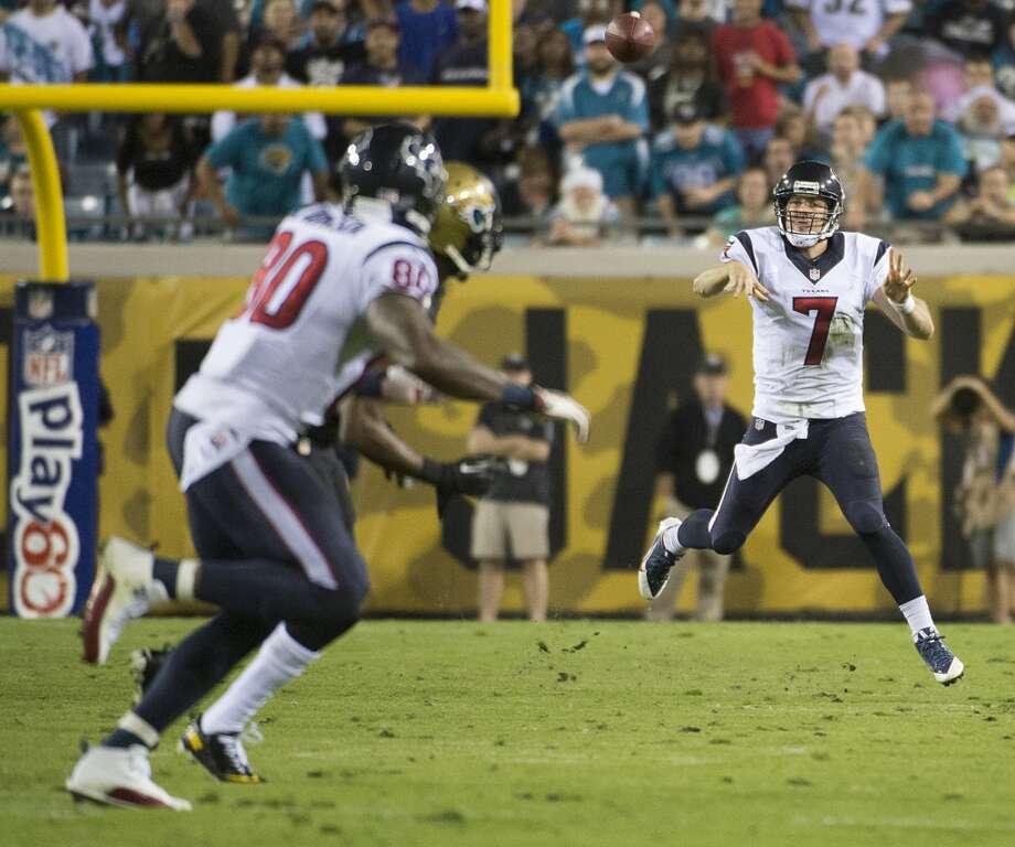 Texans quarterback Case Keenum (7) throws an interception to Jaguars cornerback Alan Ball. Photo: Smiley N. Pool, Houston Chronicle