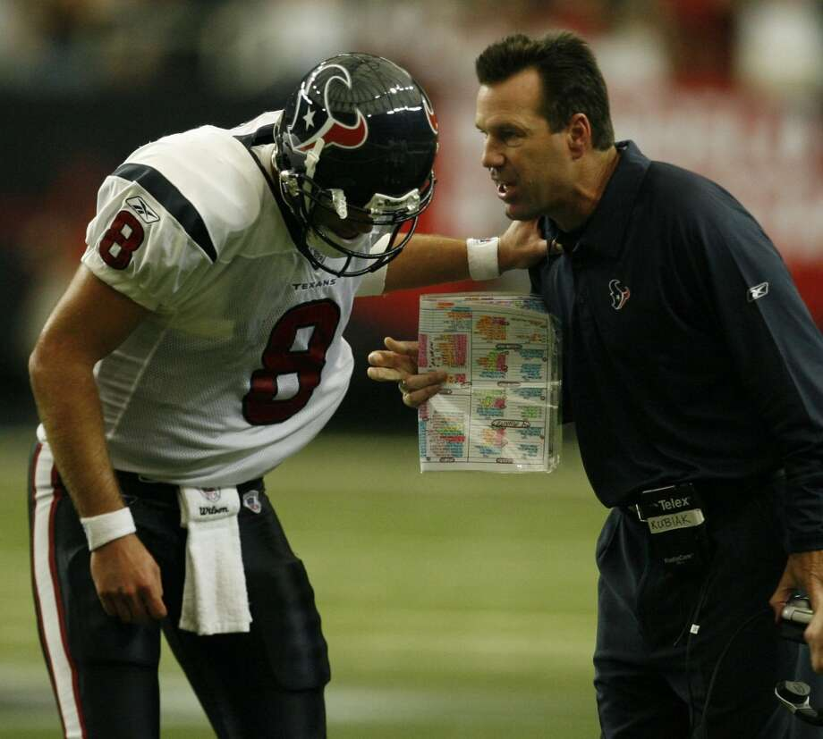 Gary Kubiak gives instructions to Matt Schaub during a 26-16 loss to the Atlanta Falcons on Sept. 30, 2007. Schaub threw nine touchdown passes and nine interceptions in 11 starts during his first season with the Texans. Photo: Billy Smith II , Houston Chronicle