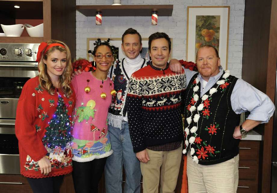 Jimmy Fallon is an ugly sweater heavyweight, but that lady in pink crushed him here. Photo: Donna Svennevik, Getty Images / 2011 American Broadcasting Companies, Inc.