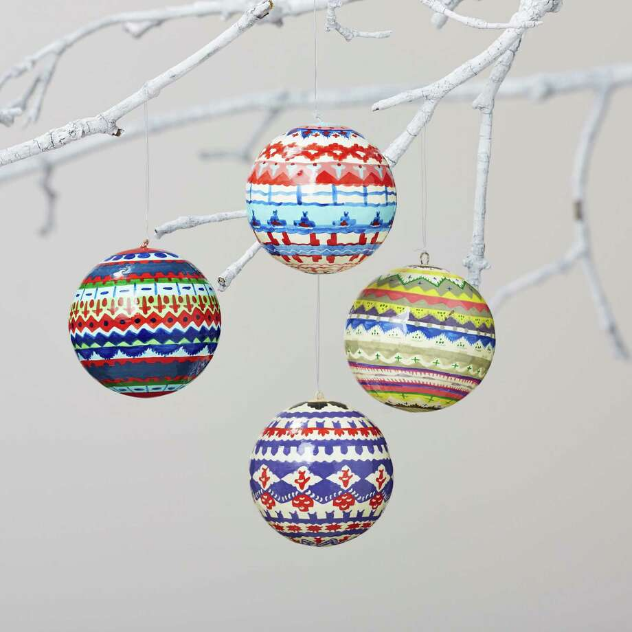 Colorful knit motifs decorate Fair Isle ornaments from Land of Nod.