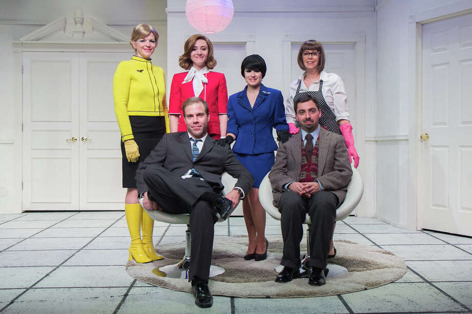 ìBoeing Boeing,î by Marc Camoletti, is on stage at TheatreWorks New Milford. Left to right in the back row are: Vicki Sosbe, Erin Shaughnessy, Reesa Roccapriore, and Jody Bayer; in the front row are James Hipp and Matt Austin. Photo: Contributed Photo/Richard Pettib, Contributed Photo / The News-Times Contributed