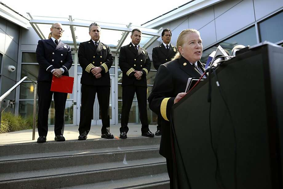(Left to right) San Francisco Fire Dept. Public Information Officer Mindy Talmadge, Dept. Chief Mark Gonzales, Airport Assistant Dept. Chief Dale Carnes and Dept. Chief Ray Guzman listen as SFFD Chief Joanne Hayes-White (right) speaks during a press conference regarding the 3rd victim of the Asiana flight 214 crash, at the San Mateo County Coroner's Office  in San Mateo, CA Friday July 19th, 2013. Photo: Michael Short 2013, Special To The Chronicle