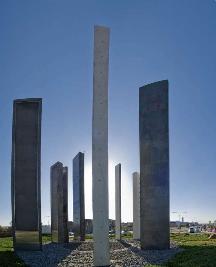 "The 10 columns  in Kliptown's ""10 Pillars""  memorial symbolize the 10 clauses of the 1955 Freedom Charter. Photo: Www.gauteng.net"