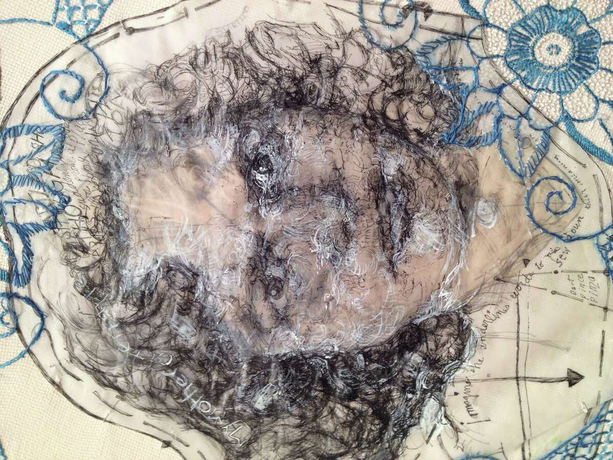 """A detail of work by Beth Secor in """"The Significance of Material,"""" on view through Jan. 11 in the Project Space at Lawndale Art Center. (pencil and White Out on vellum stitched to found embroidered linen with beads, 2013)"""