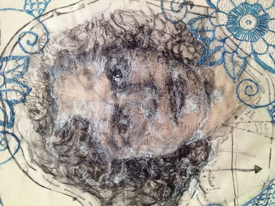 """A detail of work by Beth Secor in """"The Significance of Material,"""" on view through Jan. 11 in the Project Space at Lawndale Art Center. (pencil and White Out on vellum stitched to found embroidered linen with beads, 2013) Photo: Molly Glentzer / ONLINE_YES"""