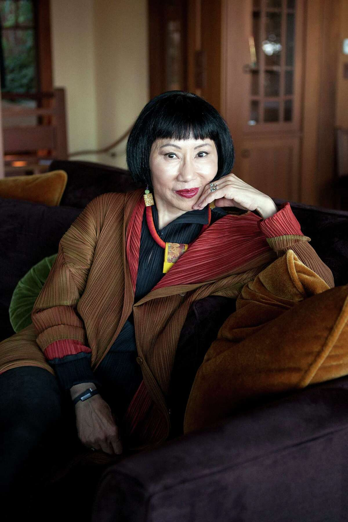 """Novelist Amy Tan, photographed in her home in Sausalito, Calif., spent eight years researching and writing """"The Valley of Amazement."""""""