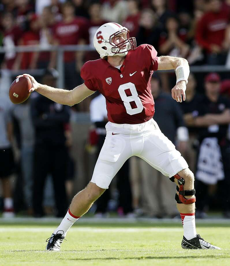 Stanford quarterback Kevin Hogan throws against Arizona State during the first half of an NCAA college football game Saturday, Sept. 21, 2013, in Stanford, Calif. (AP Photo/Marcio Jose Sanchez) Photo: Marcio Jose Sanchez, Associated Press