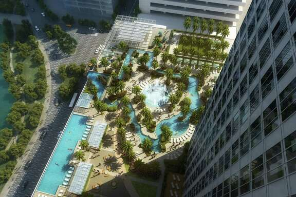RENDERING - An amenity deck at the proposed downtown convention center hotel will be built atop the 40,000 square foot grand ballroom, featuring a lazy river in the shape of Texas called the Texas Sky River.