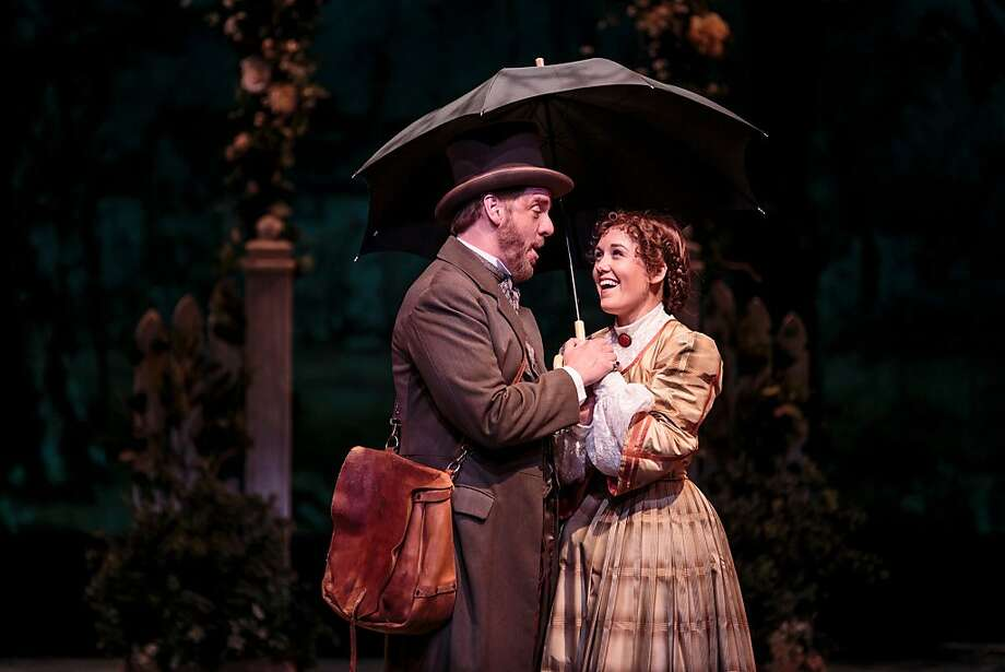 "Professor Bhaer (Christopher Vettel) acts as mentor and friend to aspiring writer Jo March (Emily Koch) in TheatreWorks' ""Little Women"" Photo: Mark Kitaoka"