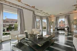 The living room looks out at other multi-million dollar homes in Pacific Heights.