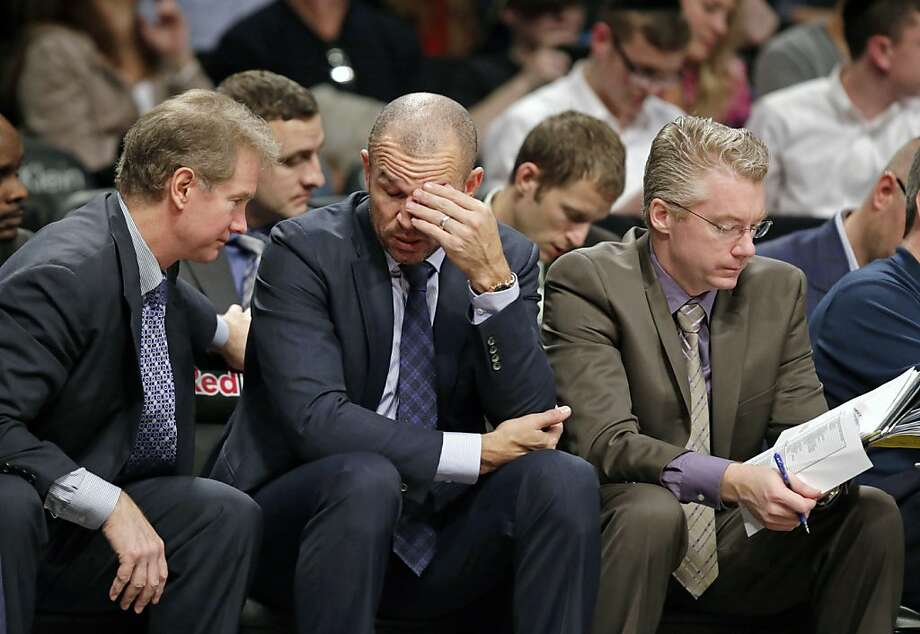 Jason Kidd, who had a distinguished 19-year playing career, has a Brooklyn Nets team that has given him reason to rub his brow as a first-year coach. Photo: Kathy Willens, Associated Press