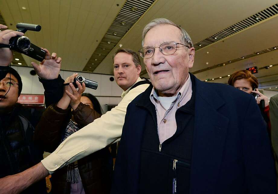 U.S. tourist Merrill Newman arrives at Beijing airport Saturday, Dec. 7, 2013 after being released by North Korea. North Korea deported Newman who was detained for more than a month, apparently ending the saga of his return to the North six decades after he advised South Korean guerrillas still loathed by Pyongyang. North Korea made the decision because the 85-year-old Newman had apologized for his alleged crimes during the Korean War and because of his age and medical condition, according to the North's official Korean Central News Agency. (AP Photo/Kyodo News) JAPAN OUT, CREDIT MANDATORY Photo: Associated Press