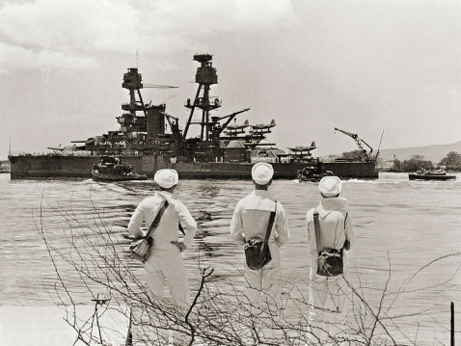 Three Sailors Watch Undamaged Ship Leaving Pearl Harbor Photo: Library Of Congress - Edited Version © Science Faction, Getty Images / Science Faction