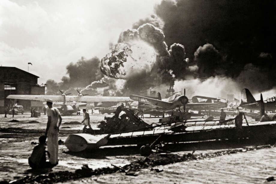 Fire and Explosions Rage at Heavily Damaged Airfield Photo: Library Of Congress - Edited Version © Science Faction, Getty Images / Science Faction