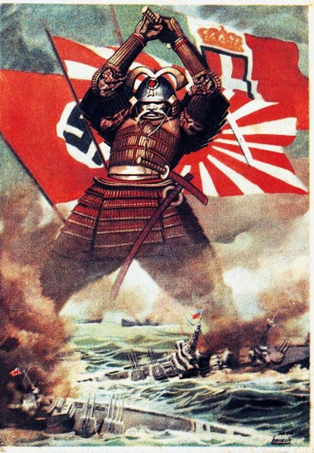 Japanese samurai sinking American fleet at Pearl Harbor (7 December 1941), poster by Gino Boccasile (1901-1952), World War II, Italy, 20th century Photo: De Agostini Picture Library, Getty Images / DeAgostini