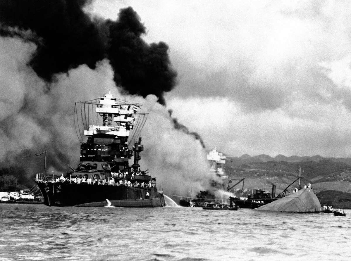 In this image provided by the U.S. Navy, U.S.S. Nevada beached at Hospital Point at Pearl Harbor, Hawaii in December 1941.