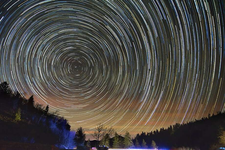 On top of ol' Smokies: A composite photo shows rings of light made by stars as they wheel around Polaris, the North Star, over 