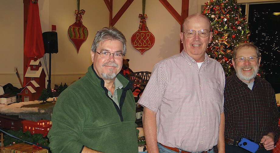 """Connecticut """"G"""" Scalers club members Leo Moerkens, Axel Kirstein and Bill Dressler on opening night of the Holiday Express Train Show Friday night at Fairfield Museum and History Center. Photo: Mike Lauterborn / Fairfield Citizen contributed"""