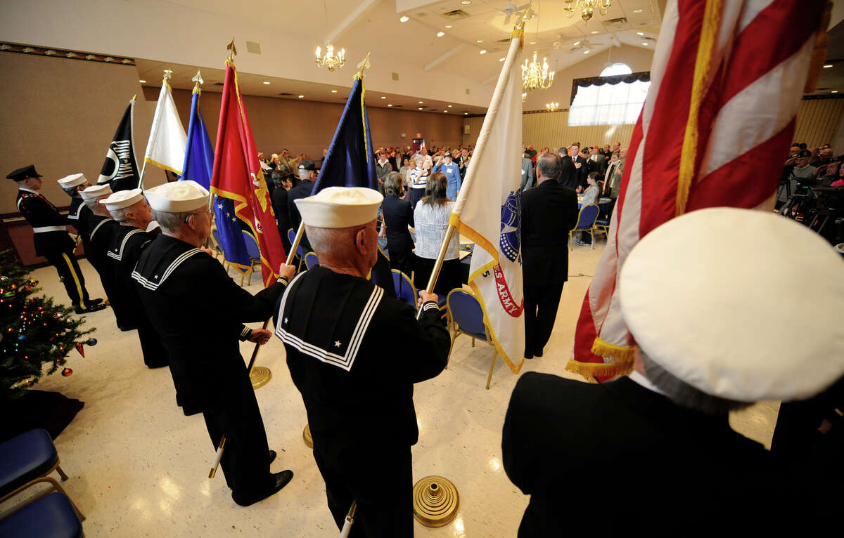 The USS Slater Color Guard retires the Colors at the conclusion of the Pearl Harbor Day Memorial Observance at the J. E. Zaloga Post of the American Legion December 7, 2010. (Skip Dickstein / Times Union)
