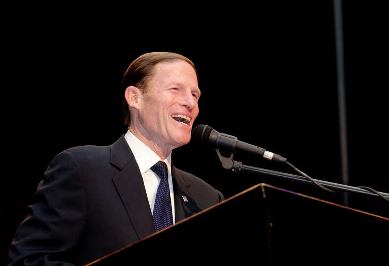 U.S. Senator Richard Blumenthal swears in the Board of Alderman for the Town of Derby in the auditor
