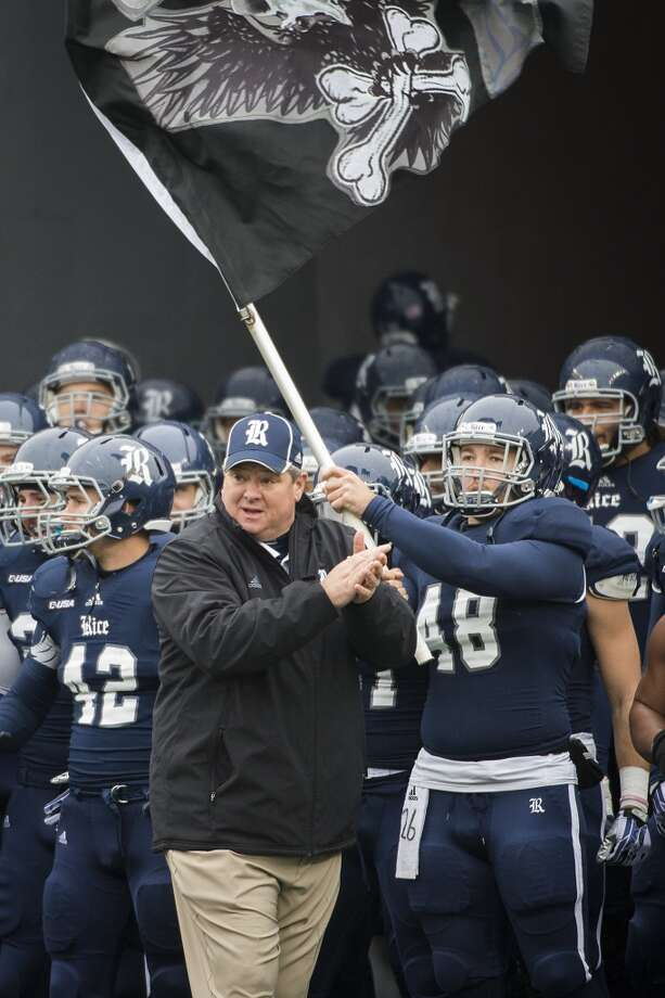 Rice head coach David Baiiliff prepares to lead his team onto the field before playing Marshall in the Conference USA championship. Photo: Smiley N. Pool, Houston Chronicle
