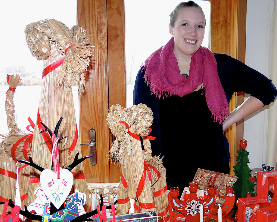 Betten Orr selling traditional Nordic crafts at the Scandinavian Club on Saturday. Photo: Mike Lauterborn / Fairfield Citizen contributed