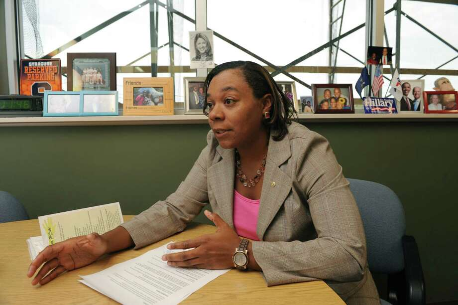 Angelica Morris, the new executive director of the Schenectady county Human Rights Commission, talks about her goals for the agency on Friday Oct. 11, 2013 in Schenectady, N.Y. (Michael P. Farrell/Times Union) Photo: Michael P. Farrell / 00024216A