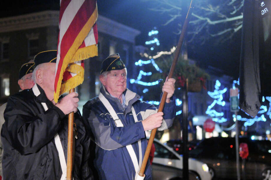 Carl Peck of the American Legion on hand as the Greenwich Legion Post 29 recognizes the anniversary of the attack on Pearl Harbor at the war memorial on Greenwich Avenue in Greenwich, Conn., Dec. 7, 2013. Photo: Keelin Daly / Stamford Advocate Freelance