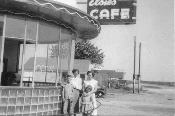"""Elsie's Café, the Route 66 eatery near McLean run by Taylor Arnold's mother, both at right, had the """"best vanilla milkshakes."""""""
