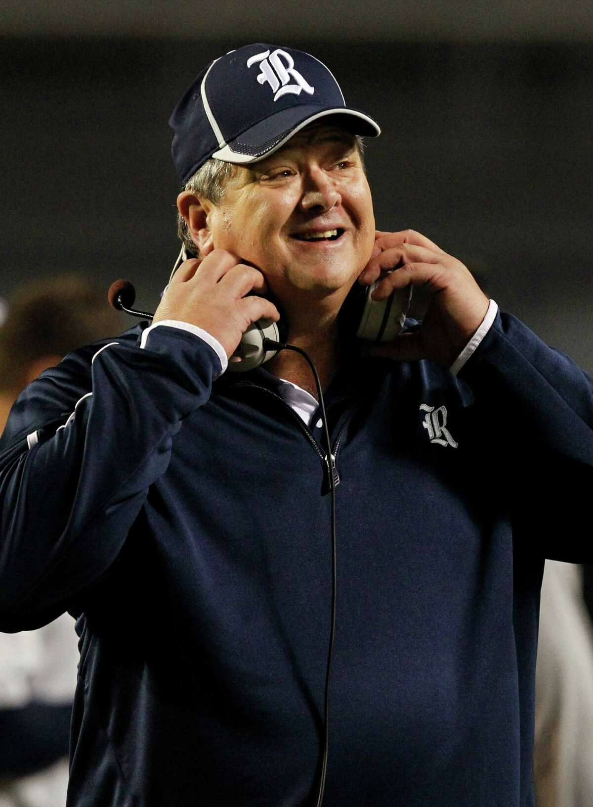 Rice head coach David Bailiff reacts to a play during the first half of an NCAA college football game against UAB on Thursday, Nov. 21, 2013, in Birmingham, Ala. (AP Photo/Butch Dill)