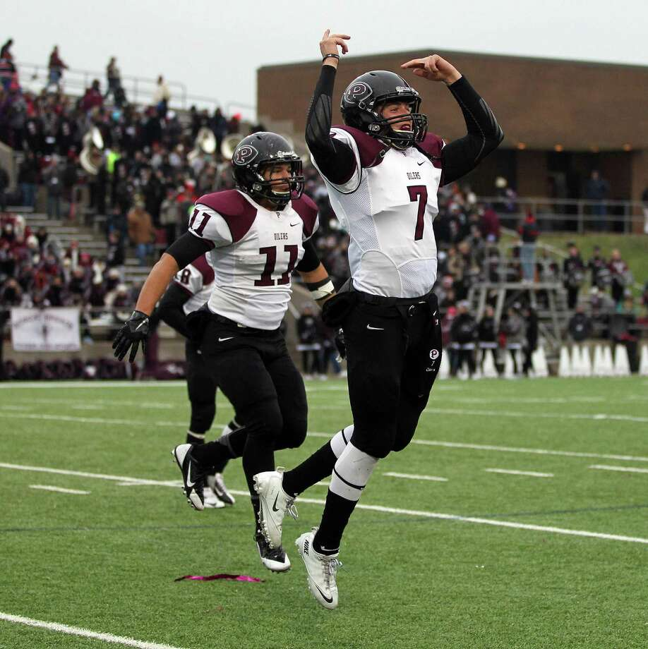 Pearland 10, Cy Fair 3Pearland's Connor Heath, right, and teammate Zachary Boegler celebrate the Oiler's 10-3 victory over Cy-Fair in a high school football playoff game, Saturday, December 7, 2013, at Mercer Stadium in Sugar Land. Photo: Eric Christian Smith, For The Chronicle