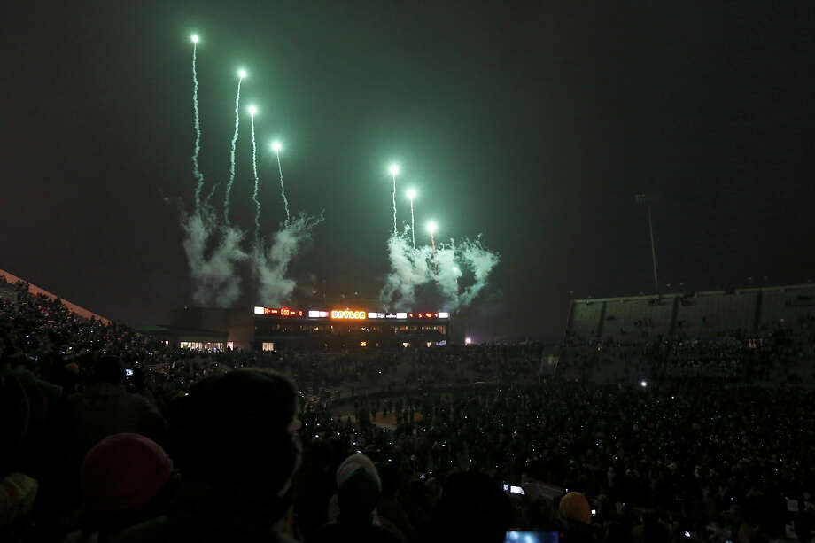 Fireworks explode at Floyd Casey Stadium as the lights are turned off after the game with the Texas Longhorns Saturday Dec. 7, 2013 in Waco, Tx. Baylor won 30-10. Photo: Edward A. Ornelas, San Antonio Express-News / © 2013 San Antonio Express-News
