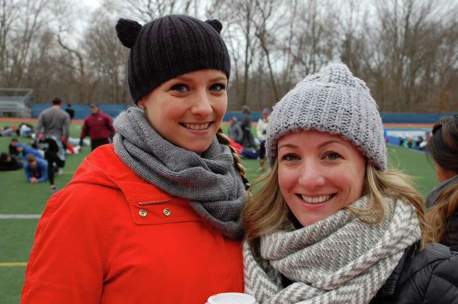 Lindsey Rundle, left, and Jen Orgera, both of whom grew up in Weston, were among the friends of Nate Greenberg who turned out for Nate's Knockout Challenge on Sunday. Photo: Jarret Liotta / Westport News contributed