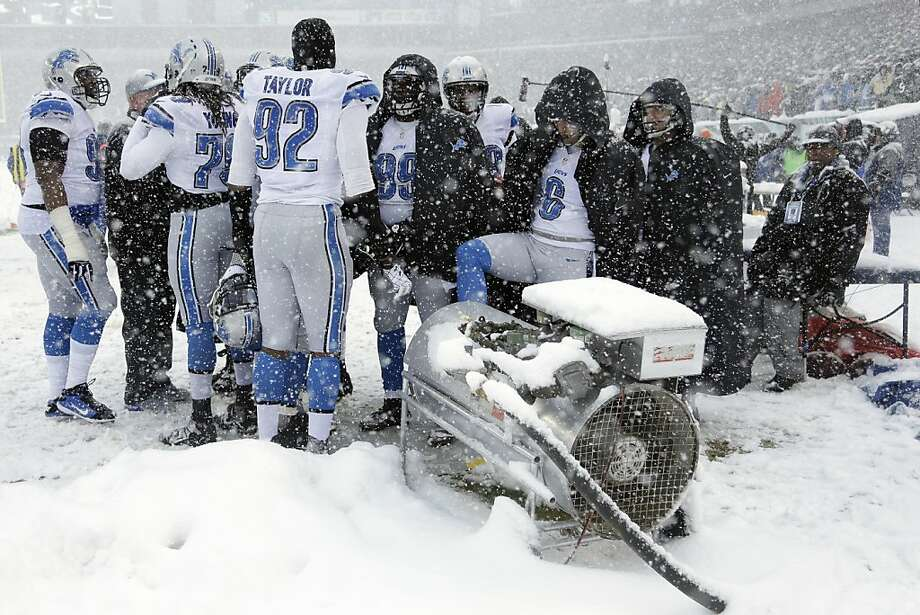 Detroit Lions players warm themselves during the first half of an NFL football game against the Philadelphia Eagles, Sunday, Dec. 8, 2013, in Philadelphia.  Photo: Matt Rourke, Associated Press