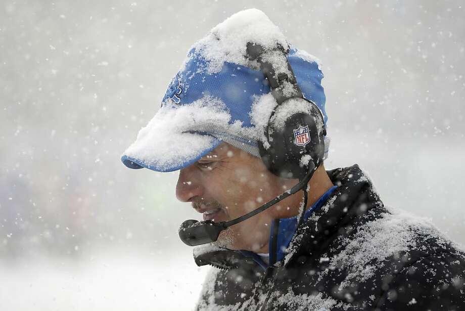 Detroit Lions head coach Jim Schwartz walks the sidelines during the first half of an NFL football game against the Philadelphia Eagles, Sunday, Dec. 8, 2013, in Philadelphia. Photo: Matt Rourke, Associated Press
