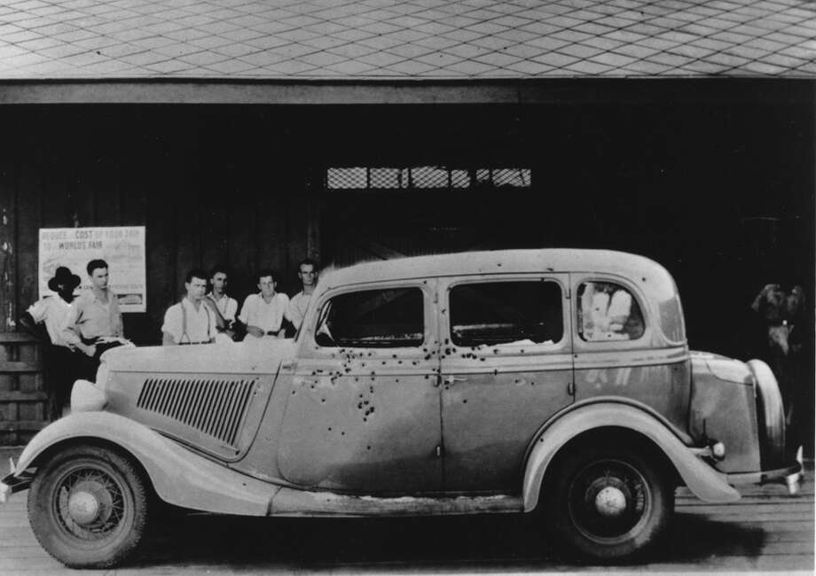 An undated photo of Clyde Barrow's bullet-riddled car. Photo: Associated Press