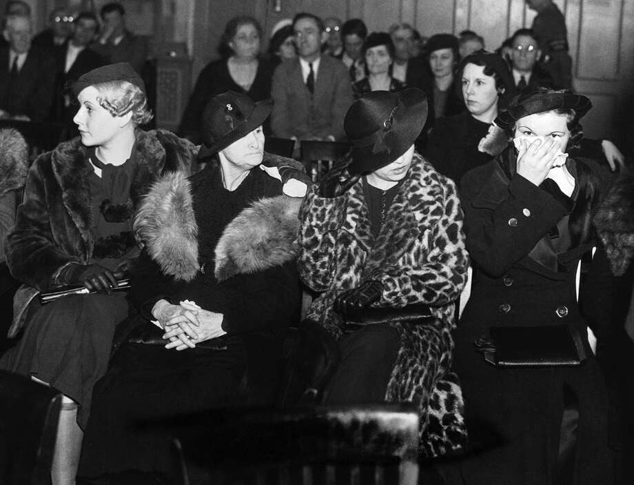 Four of the eleven women brought to trial, Feb. 22, 1935, on charges of harboring the late Clyde Barrow and his companion Bonnie Parker, before the couple, sought for numerous bloody crimes, were shot to death. The women are, left to right, Audrey Fay Barrow; Cumie Barrow, Clyde's mother; Blanche Barrow, widow of Clyde's brother Buck; and Mary O'Dare. Photo: Associated Press